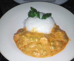 Erdnussbutter-Gemuse-Sauce mit Reis