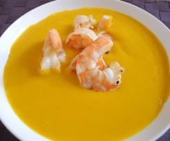 Kürbissuppe mit Garnellen