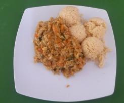 Rotes Gemüse Curry mit Süßkartoffeln und Blumenkohl